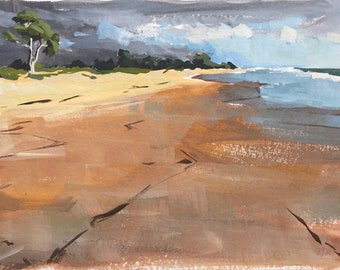 Original Gouache Painting - Carpinteria Beach - by Sharon Schock, fits 8x10 frame