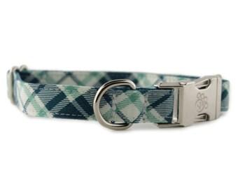 Plaid Dog Collar - Plaid Dog Collar - Green and Blue Plaid Dog Collar - Grasshopper Plaid Dog Collar - boy dog collar - preppy dog collar