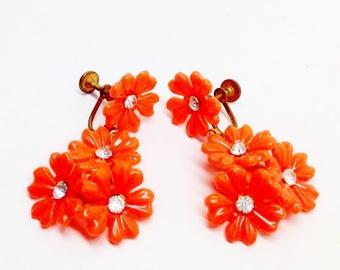 Vintage Estate Orange Flower Lucite Rhinestone Centers Screw-back Long Dangle Earrings 1930's Floral Art Nouveau Rockabilly Spring Fashion