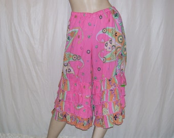 Flower Bloomers Hippie Festival Pants Soft Pink Paisley Trippy Gypsy Boho OOAK Wide Leg Pants Ruffles Lightweight Cotton Adult M L 10 12