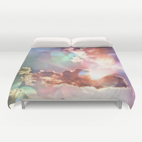 Rainbow Sky Duvet Cover, Decorative Multicolor bedding, light, happy, bedroom, wedding gift, dreamy, whimsical, cloudy sky, dorm, trend