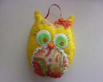 "Handmade Felt and Sequin Owl Hanging Decor 7x6"""