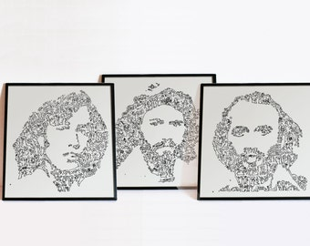The Bee Gee's - Robin, Barry and Maurice Gibb - set of 3 Intricate doodle portraits - Disco band Wall Art - Ltd edition of 100