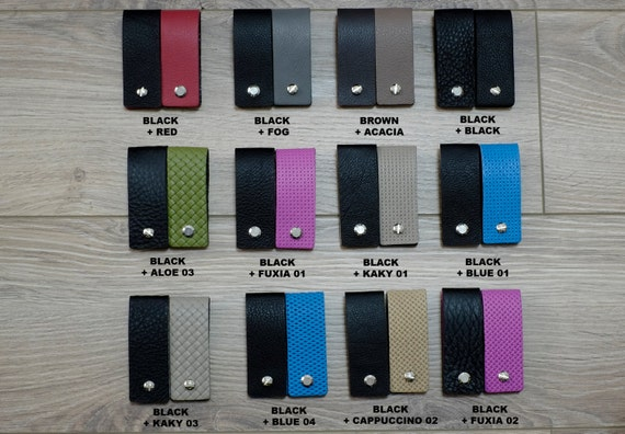 Keychain Leather Key Holder - Double Face & Reversible Colors - Slim Keychain Minimalist Key Case Holder Gift for Men's and Womens