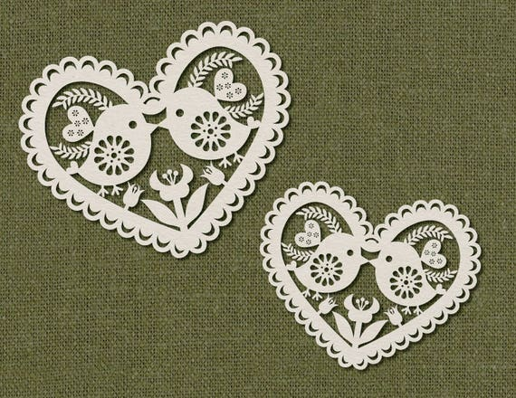 Birds Template For Laser Cutting. Tulip Lace Heart SVG