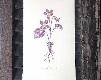 Violet Block Print / Hand Printed
