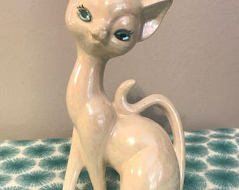 White Iridescent Siamese Cat Figurine with Sapphire Blue Rhinestone Eyes