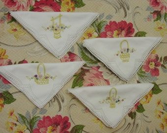 4 Pretty Vintage Linen Napkins Each with Different Embroidered Basket, Crochet, Excellent!