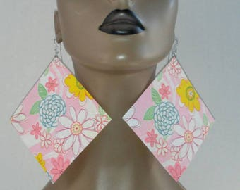 Attractive Cut Fabric Earrings Embellished with a Multi Color Floral Print Design, Fabric Earrings, Women Earrings, Large Earrings, Floral