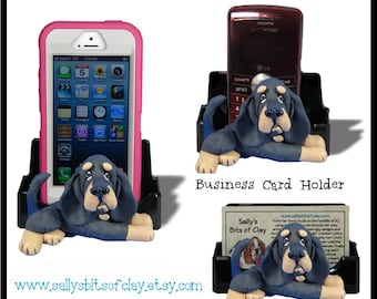 Black and Tan Bloodhound Dog Holder for Cell Phone IPod IPhone or Business Cards OOAK by Sally's Bits of Clay