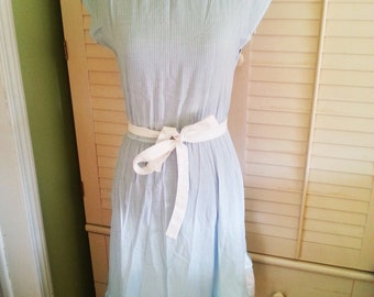 Vintage 1970's dress, vintage bohemian style dress, vintage flirty dress, vintage white and blue striped dress,