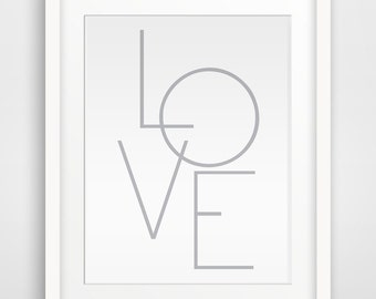 Love art Gray Geometrical Print,  Printable art, Wall art, Printable Wall Art, Downloadable Wall Prints, Digital Art, Modern Art