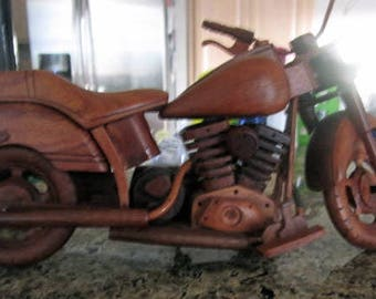 Motorcycle vintage hand carved redwood bike