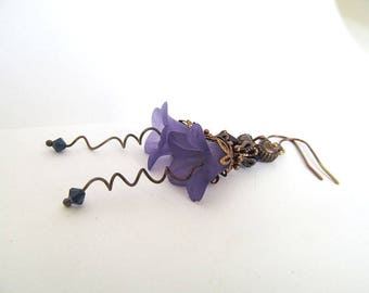 Purple Flower Earrings, Vintage Inspired Dangles, Violets, Botanical Jewelry, Wild Flower, FTD Awareness
