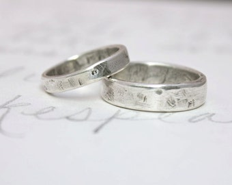 rustic wedding band ring set . custom recycled sterling silver wedding rings with inscription . simple relic wedding rings