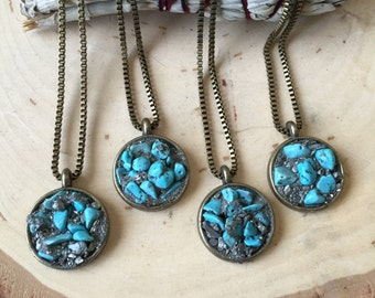 Turquoise Necklace/ Cameo Pendant/ Crushed Pyrite Necklace/ Natural Gem Stone/ Layered Necklace/ Stone Necklace/ Crystal Heading/ Boho Chic