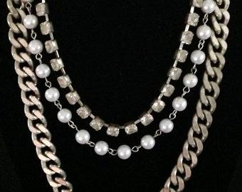 Vintage Triple Strand Pearl & Rhinestone Necklace