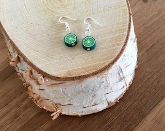 Lime earrings. Fruit earrings. Green earrings. Kids earrings. Linnepin010