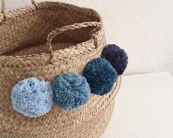 XL Thai basket with denim blue tassels