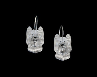 Briard (cropped ears) earrings - sterling silver.