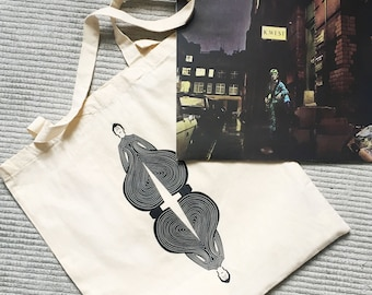 David Bowie Screen Printed Light Tote Bag. 100% Cotton Tote. Natural Cream Colour. Affordable gifts for Bowie Fans.