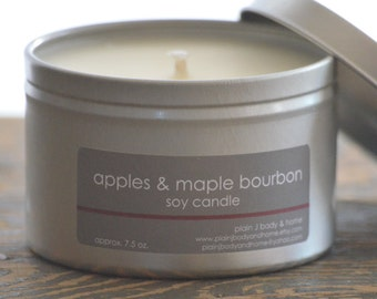 Apples & Maple Bourbon Soy Candle Tin 8 oz. - apple soy candle - fall candle - maple soy candle - holiday candle - food soy candle