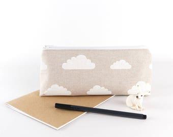 Minimalist Pencil Case Cloud Fabric Zipper Pouch Large Pencil Case Accessory Storage Makeup Bag