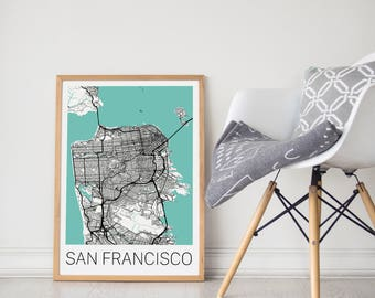 San Francisco Map / San Francisco Poster / San Francisco Wall Art/ Travel Poster/ City Map Print/ San Francisco Decor