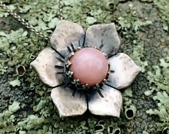 Peruvian Opal Flower Necklace, Sterling Silver, Pink flower Necklace, Jewelry for Women, Gypsy Jewelry, Boho, Mandala Flower