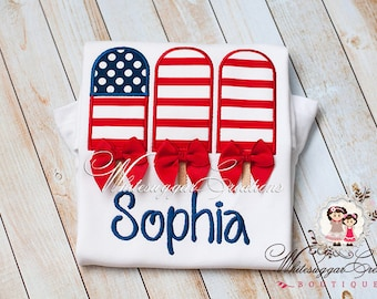 Girl Memorial Day Shirt, Patriotic Shirt, 4th of July Popsicle Outfit, Baby 1st Independence Day Outfit, Toddler Summer Personalized Shirt