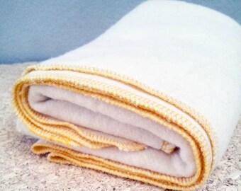 Organic hemp fleece Baby Blanket - Eco-friendly Receiving Blanket - Baby Shower Gift - Hemp Organic Cotton Fleece. Yellow
