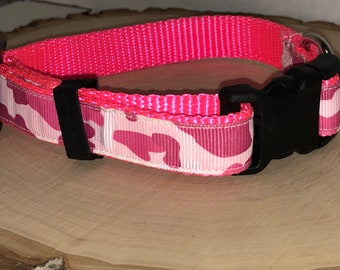 Pink camouflage dog collar