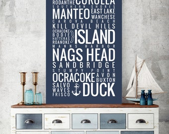 Outer Banks, North Carolina (OBX) Towns - Typography Print
