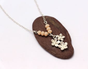 Sterling silver flowers necklace - Flower charm necklace - Peach stone necklace - wedding jewels - bridesmaid necklace