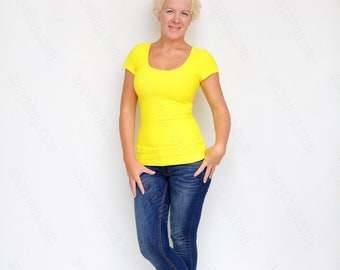 Yellow Basic Tee, Casual Shirt, Yellow Top, Short Sleeve TShirt, Yoga Tee, Cleavage Top, Running Shirt, Slim Fit Top, Yellow Shirt