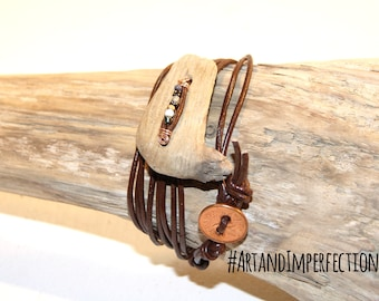 Mens bracelet, womans bracelet. Driftwood jewelry. Driftwood Bracelet. Wooden Bracelet. Bohemian chic. Copper wire, coins and glass beads.