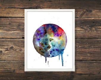 Galaxy Print, Watercolor Painting, Watercolor Art, Galaxy Painting, Galaxy Art, Space, Astronomy,