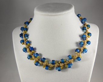 Turquoise and gold glass bead crochet necklace