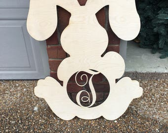 Monogram Bunny, large Easter door hanger, Easter, Rabbit