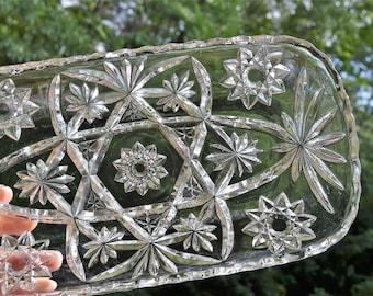 Vintage Star of David Glass Rectangular Serving Dish Tray Platter Pressed Glass Anchor Hocking Tea Party Wedding  PanchosPorch