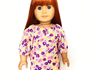 Mini Skirt, Floral, Flowers, Yellow, Purple, Pink, White, Fits dolls such as American Girl, 18 inch Doll Clothes
