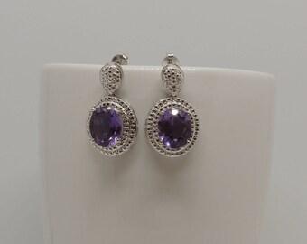 Amethyst gemstone, 925 sterling silver, dangle drop earrings, purple
