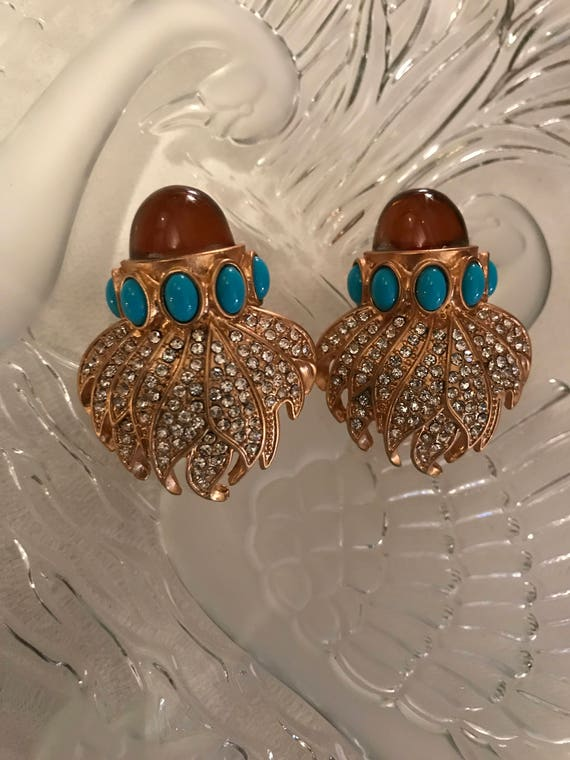 Gorgeous Rhinestone & Cabochon Flaming Torch Vintage Clip Earrings
