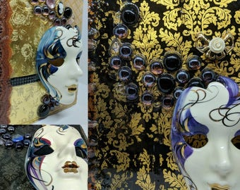 Mardi Gras mask trio wall art set-one of a kind collage home decor