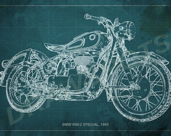 Ducati monster 695d blueprint art print 8x12 in and larger bmw r602 special 1965 blueprint art print 8x12in to 60x41in motorcycle art print malvernweather Choice Image