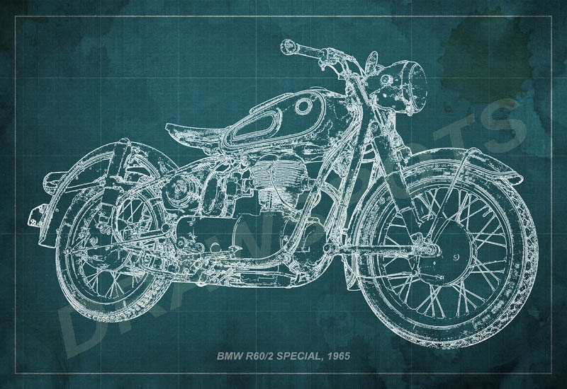 Bmw r602 special 1965 blueprint art print 8x12in to 60x41in zoom malvernweather Images