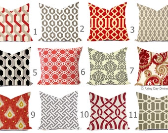 Outdoor Pillows or Indoor Custom Cover - Red Grey Gray Taupe - All sizes 16x16 18x18 -Sham Toss Throw Accent Modern Geo Ikat