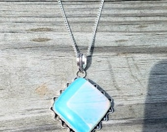 Opalite Necklace Opalite Pendant Opalite Crystal Silver Plated Necklace