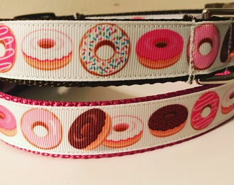 1 inch Wide Pink and Brown Sprinkle and Iced Donuts Large Dog Collar