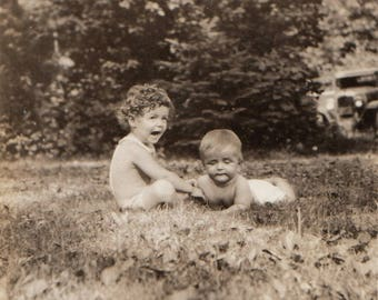 Original Vintage Photograph Snapshot Toddler & Baby on Grass 1910s-20s